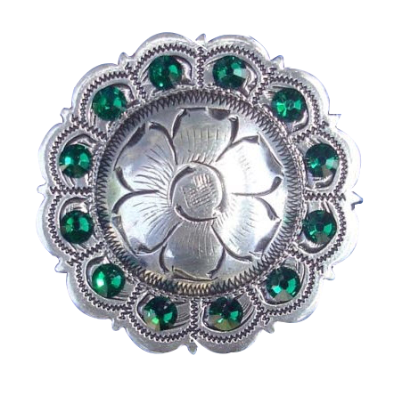 Green stone medallion fitness button